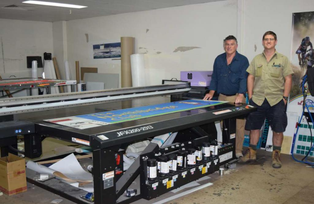 Neil and Tony wit the flatbed printer