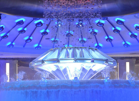 Clever use of LED lighting and water