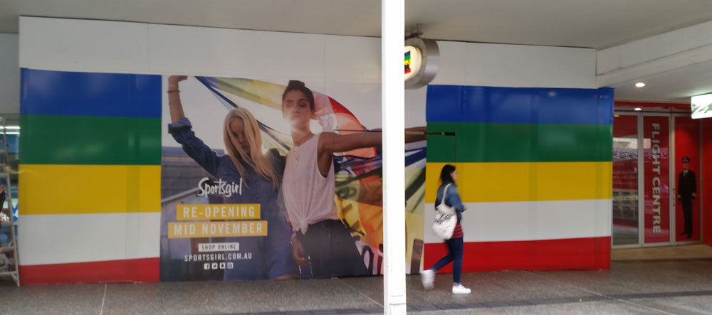 Digital prints are perfect in shopping centres for shop refurbishment.
